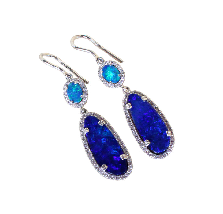 Electric blue Australian opal diamond solid silver dangle earrings - Ready to ship - Sarah Hughes - 4