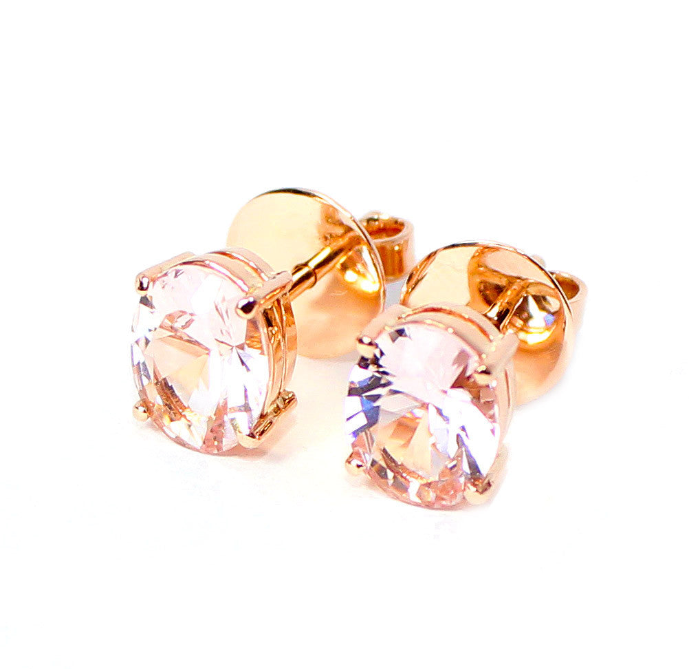 Morganite oval brilliant cut 2.73 carats pair rose gold post earrings - CLICK HERE - Sarah Hughes - 2