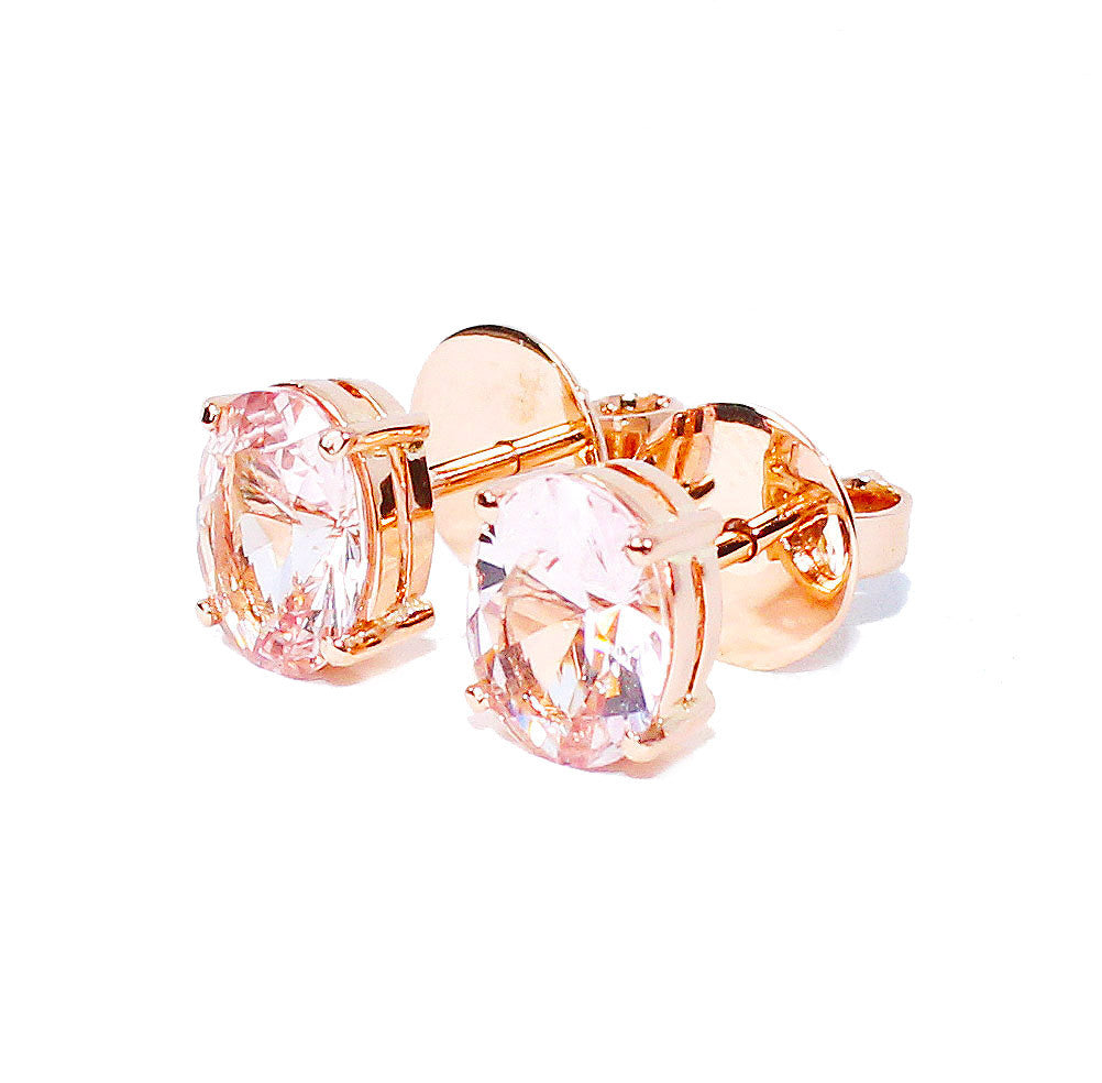 Morganite oval brilliant cut 2.73 carats pair rose gold post earrings - CLICK HERE - Sarah Hughes - 3