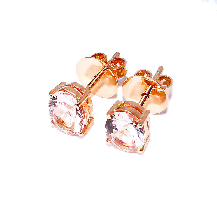Morganite oval brilliant cut 2.73 carats pair rose gold post earrings - CLICK HERE - Sarah Hughes - 4