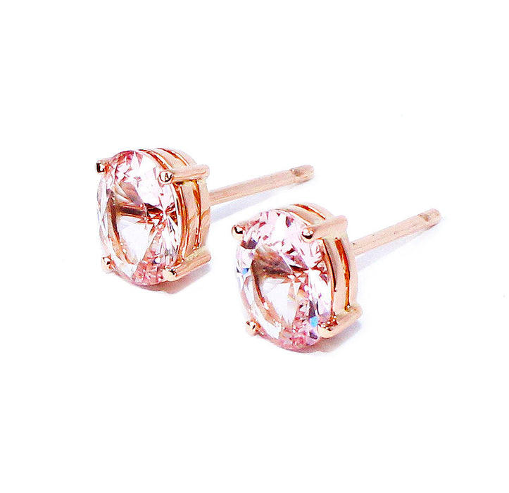 Morganite oval brilliant cut 2.73 carats pair rose gold post earrings - CLICK HERE - Sarah Hughes - 5