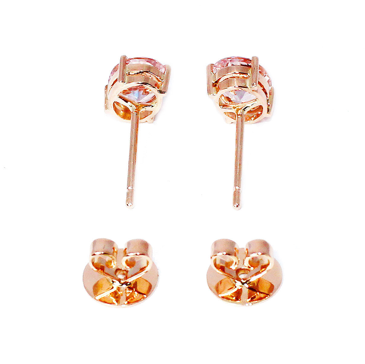 Morganite oval brilliant cut 2.73 carats pair rose gold post earrings - CLICK HERE - Sarah Hughes - 7