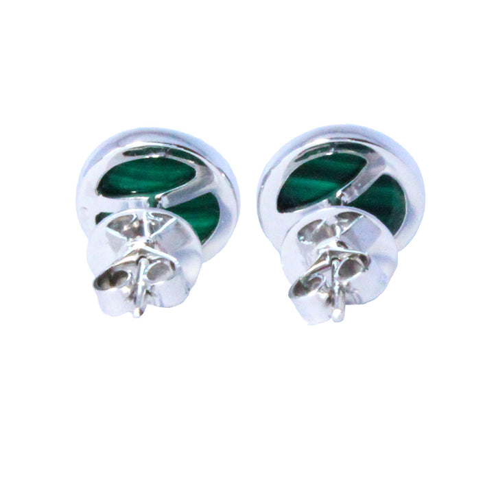 Malachite round pair 925 solid silver cufflinks - READY TO SHIP