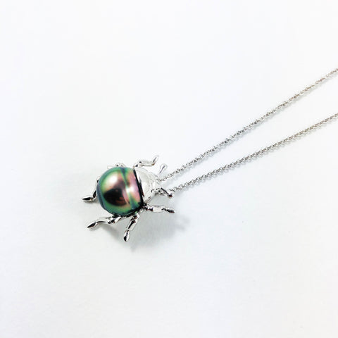 Beetle bug insect Tahitian pearl, 14k white gold pendant necklace