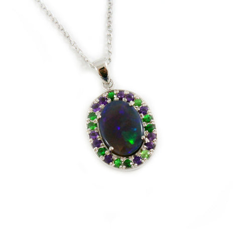 Australian jelly opal Tsavorite garnet and amethyst halo white gold pendant necklace - Sarah Hughes - 1