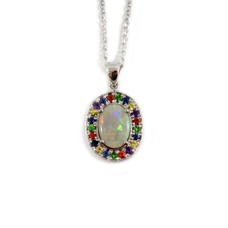 Australian opal fancy sapphires and amethyst halo white gold pendant necklace - Sarah Hughes - 1