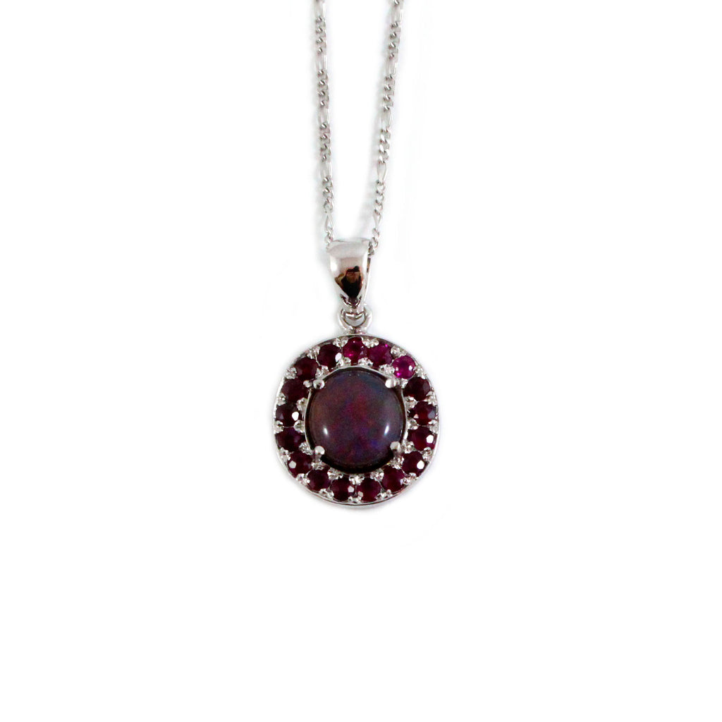 Australian jelly opal and ruby halo white gold pendant necklace - Sarah Hughes - 1