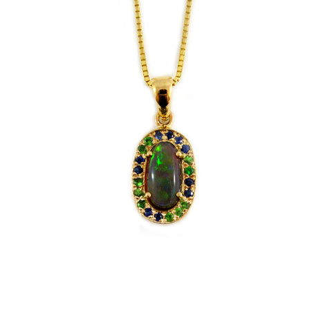 Australian jelly opal blue and green sapphire irregular gradient halo yellow gold pendant necklace - Sarah Hughes - 1