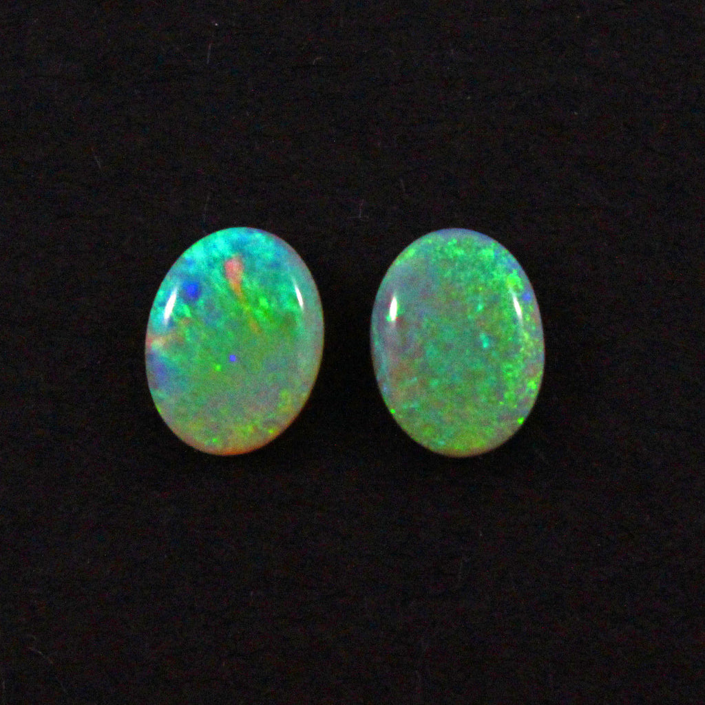 Australian black opal matched pair 2.48 carat total loose gemstone - Purchase only with custom order - Sarah Hughes - 1