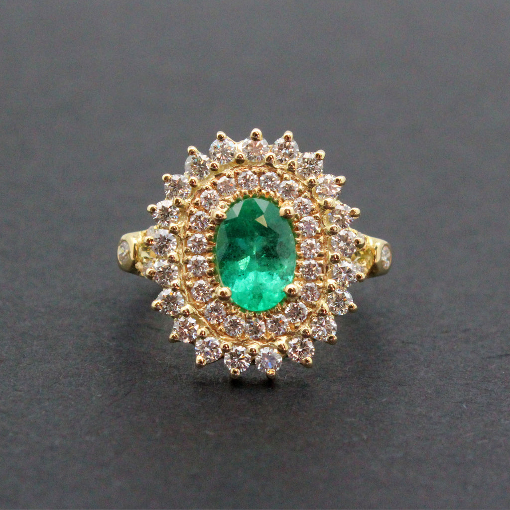 Emerald oval and diamond yellow gold ring Size 7.5 US - Ready to ship or Resize