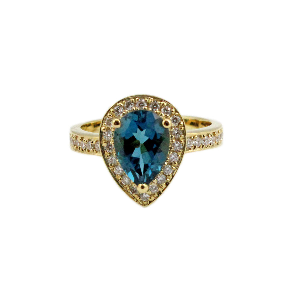 London blue topaz pear with diamond halo set in yellow gold ring Size 7.5 US - Ship or Resize