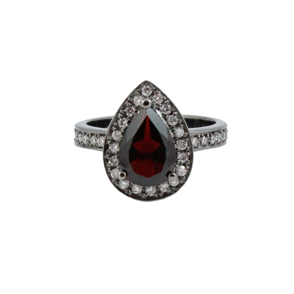 Pyrope Garnet pear with diamond halo set in oxidized black gold ring - Choose your size