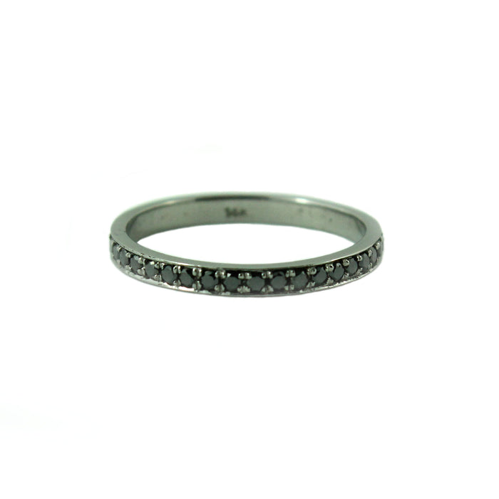 Half eternity black diamond 14k oxidized black gold ring