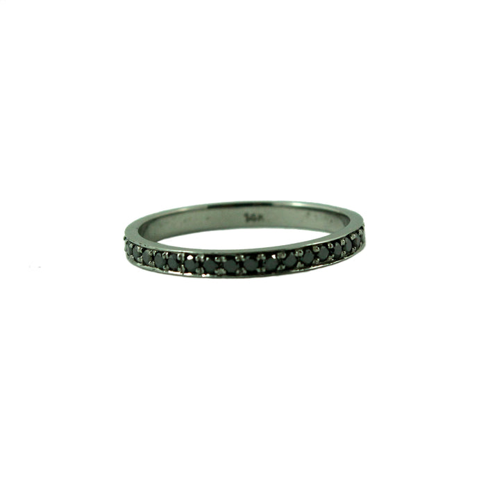 Full eternity diamond 14k oxidized black gold ring