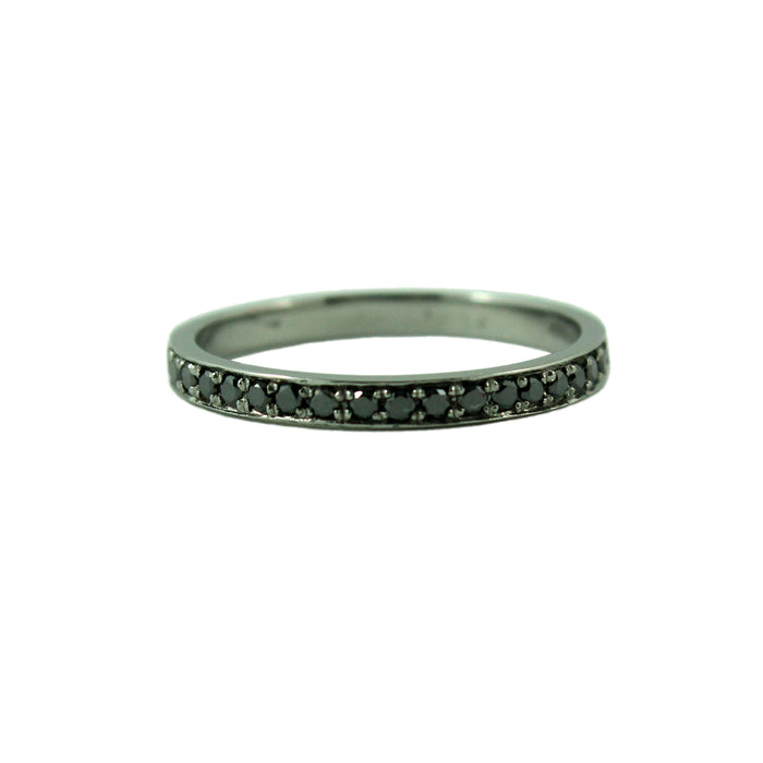 Half eternity diamond 14k oxidized black gold ring