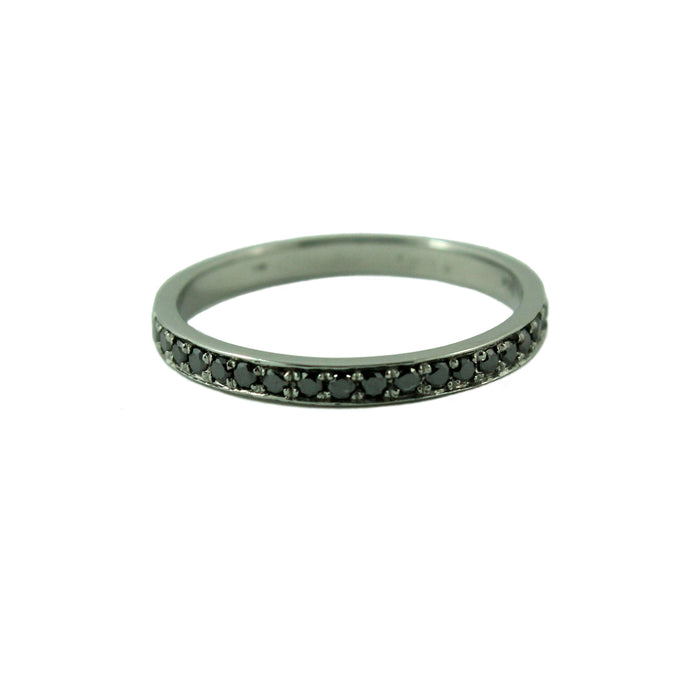 Full eternity black diamond 14k white gold ring