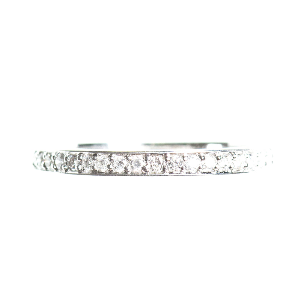 Full eternity diamond 14k white gold ring