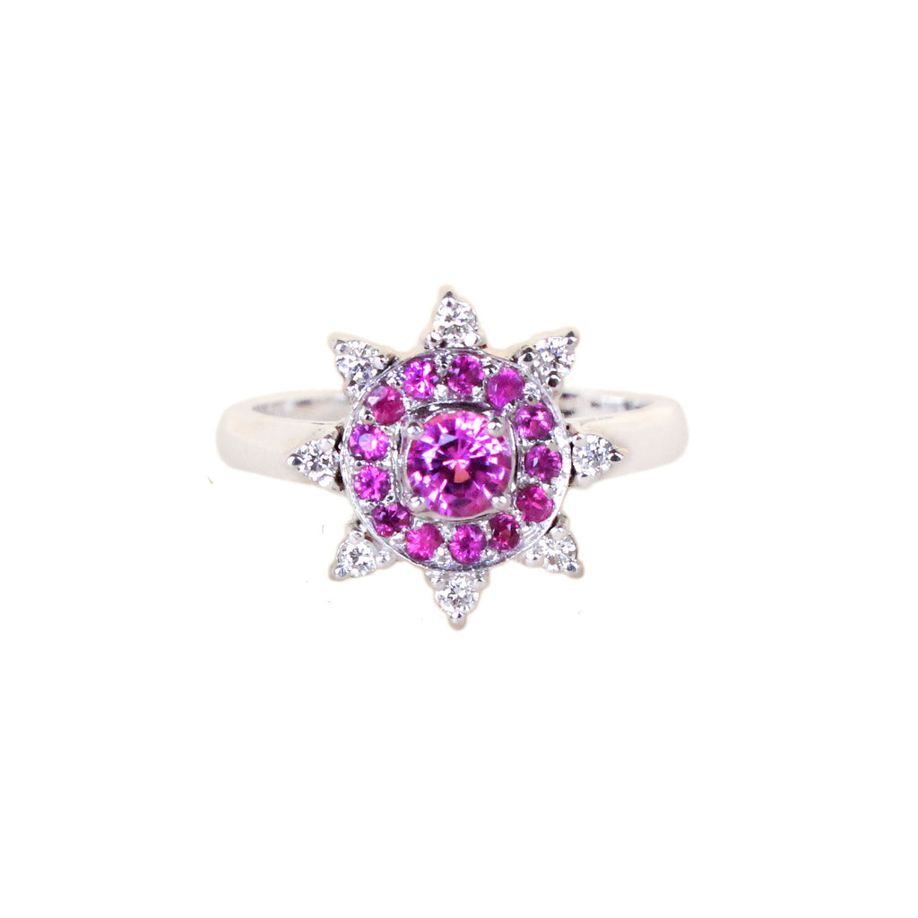 Australian pink sapphire, pink rubies, diamonds 14k white gold flower ring a Size 6 - Ship or Resize