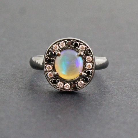 Australian jelly opal diamond black diamond halo black gold ring Size 5.5 US