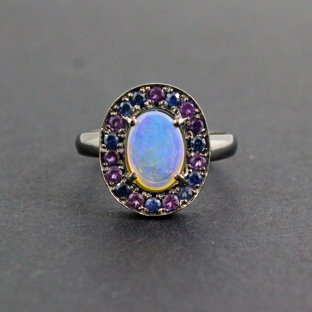 Australian jelly opal, amethyst, blue sapphire halo black gold ring size 6.5 - Ship or Resize