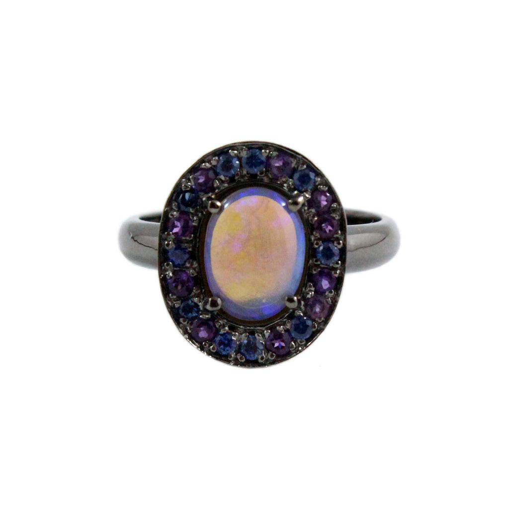 Australian jelly opal, amethyst, blue sapphire halo black gold ring size 7.5 - Ship or Resize