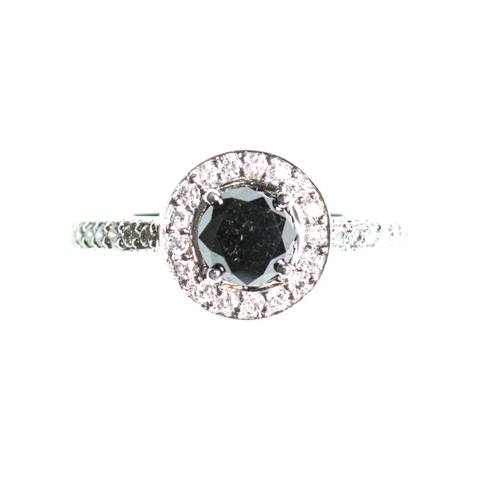 Half eternity black diamond 14k white gold ring