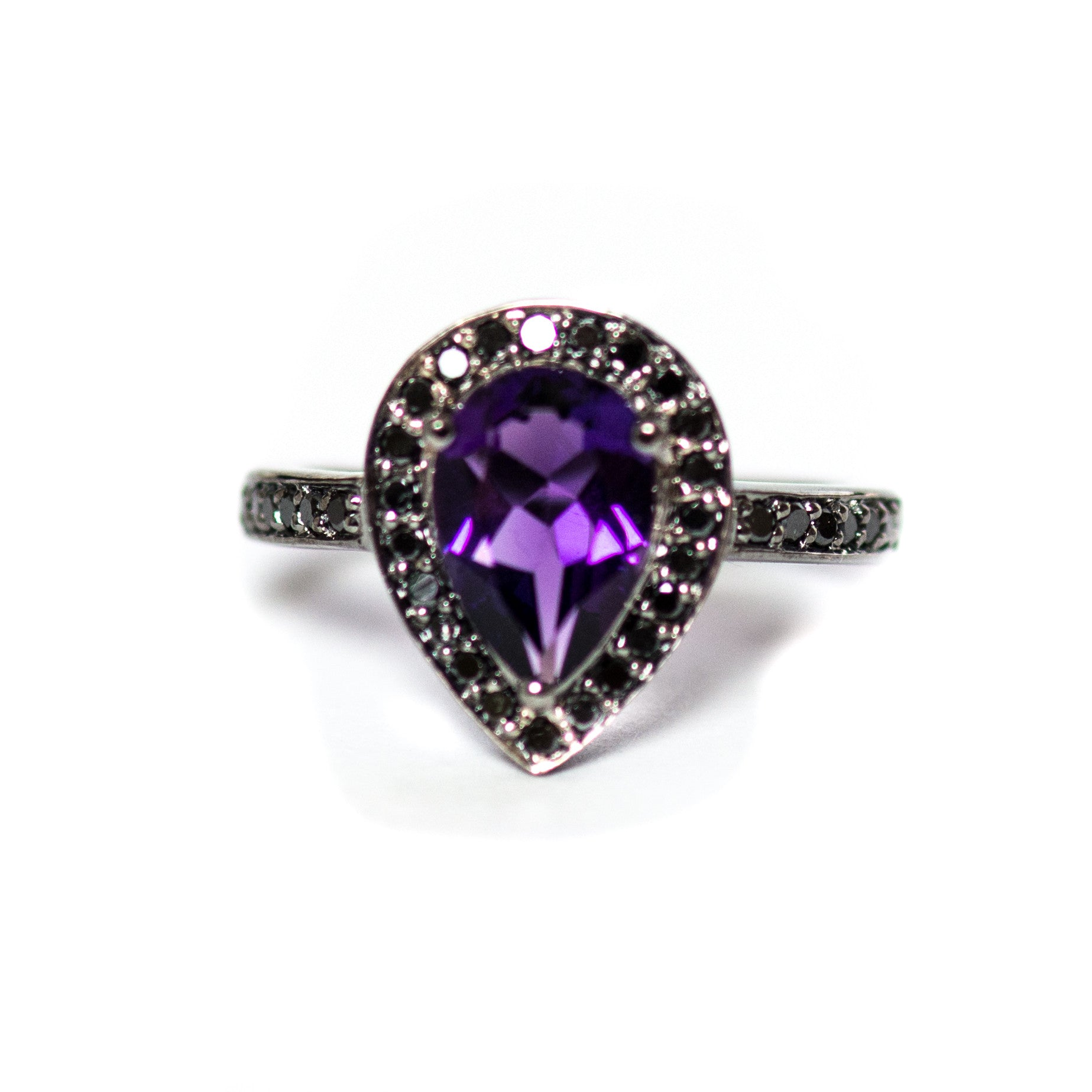 Amethyst pear and black diamond halo black gold alternative engagement ring - Choose your size CLICK HERE - Sarah Hughes - 4