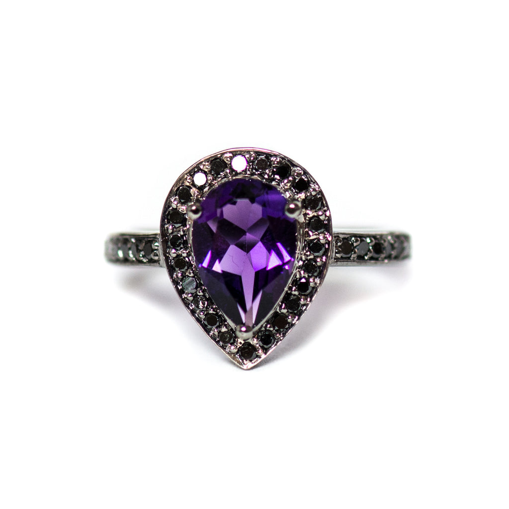 Amethyst pear and black diamond halo black gold alternative engagement ring - Choose your size CLICK HERE - Sarah Hughes - 1