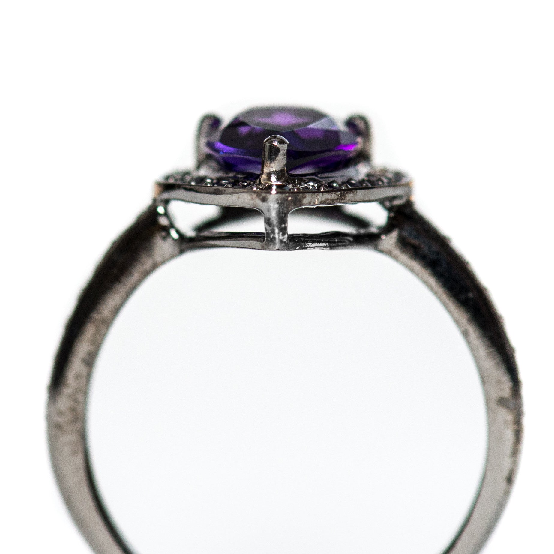 Amethyst pear and black diamond halo black gold alternative engagement ring - Choose your size CLICK HERE - Sarah Hughes - 5