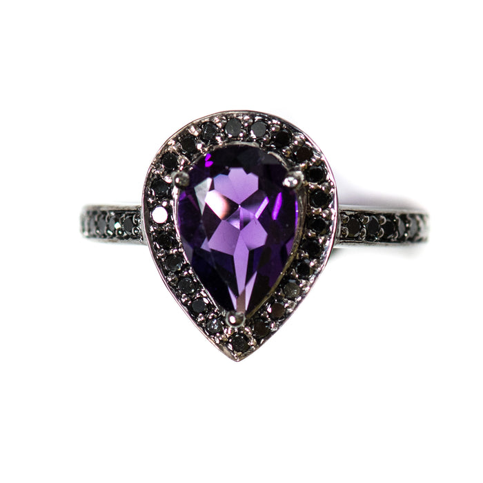 Amethyst pear and black diamond halo black gold alternative engagement ring - Choose your size CLICK HERE - Sarah Hughes - 6