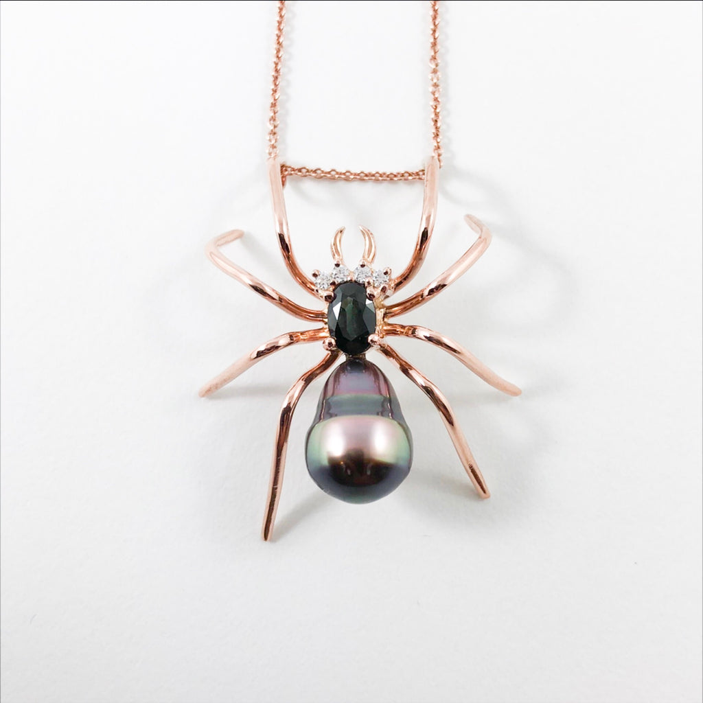 Spider Tahitian pearl cz sapphire rose gold pendant necklace