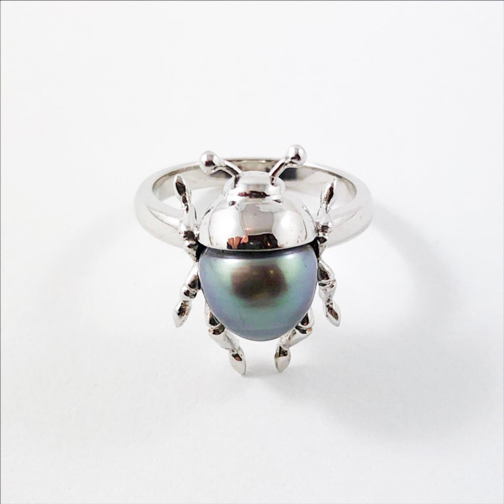 Beetle bug insect Tahitian pearl 14k white gold ring Size 6.5 US - Ready to ship or resize