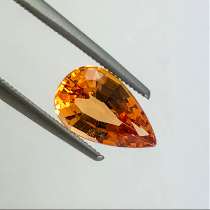 Imperial Topaz orange red 2.39ct 10.93x6.77x4.61mm pear cut loose gemstone