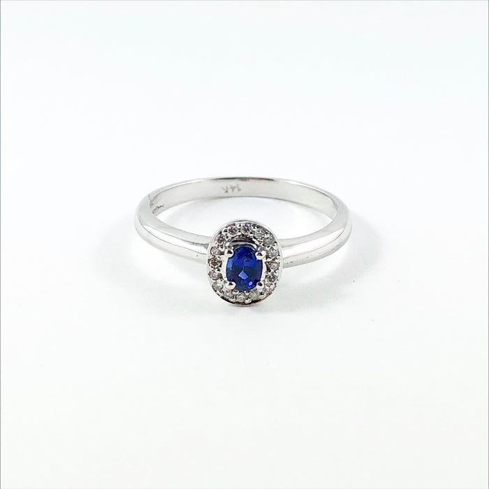 Ceylon sapphire oval and white diamond halo 14k white gold ring