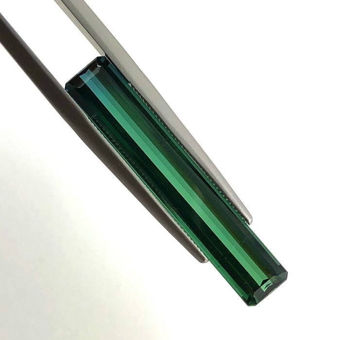 Bi colour blue green tourmaline long baguette cut 6.01 carat loose gemstone