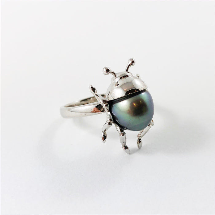 Beetle bug insect Tahitian pearl 14k white gold ring