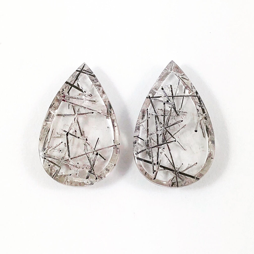 Tourmilated rock quartz pear cut matched cabochon pair 21.44 carats total - Buy only with custom order