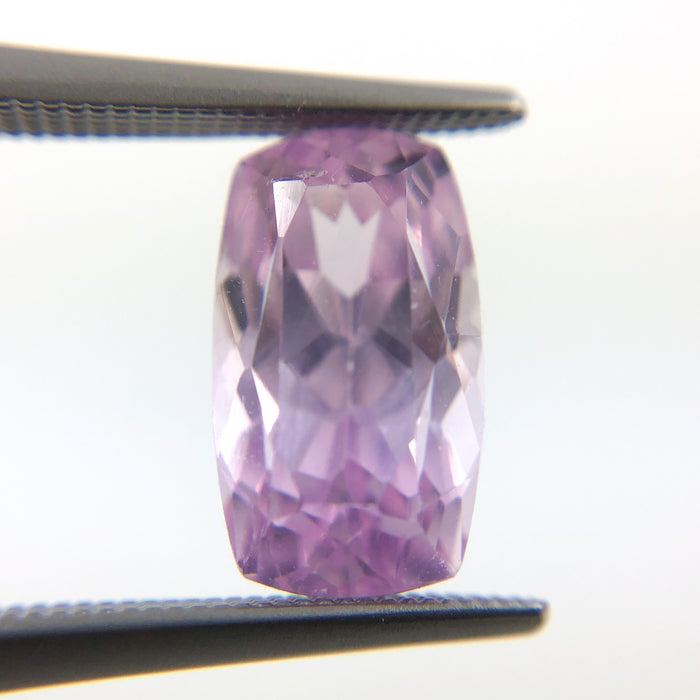 Kunzite pink violet rectangle cushion cut 4.36 carat loose gemstone