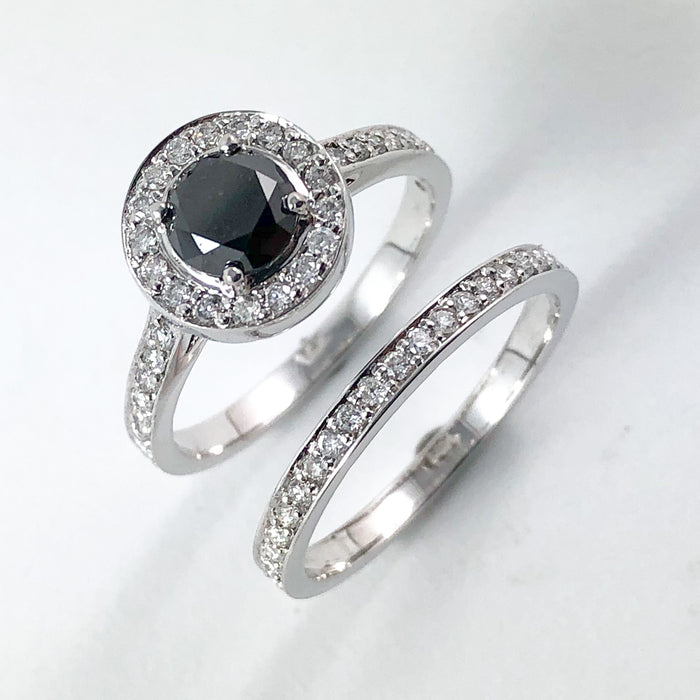 Black diamond round diamond halo 14k white gold wedding ring set - Certified