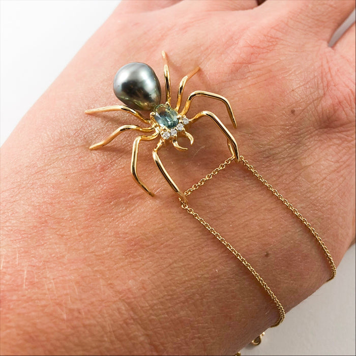 RESERVED for Lea D - Spider arachnid insect Tahitian pearl cz sapphire rose gold pendant necklace