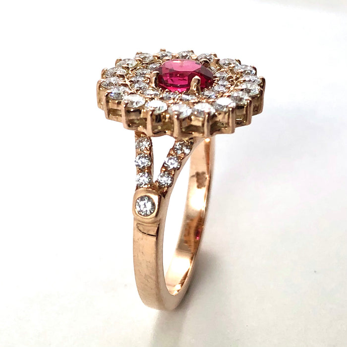 Red spinel oval and diamond rose gold ring