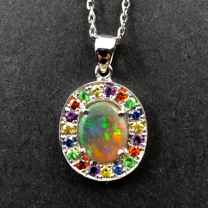 Australian opal fancy sapphires and amethyst halo white gold pendant necklace