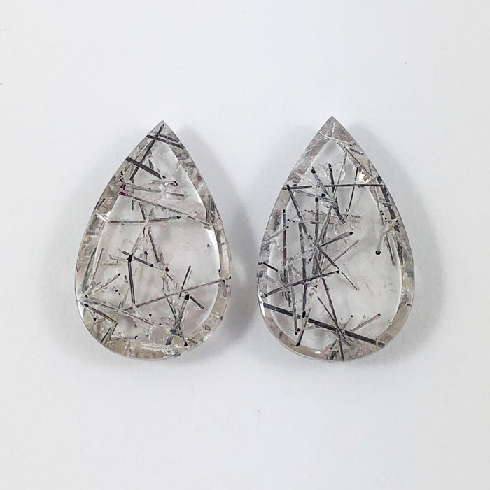 Tourmalated rock quartz pear cut matched cabochon pair 21.44 carats total - Only with custom order