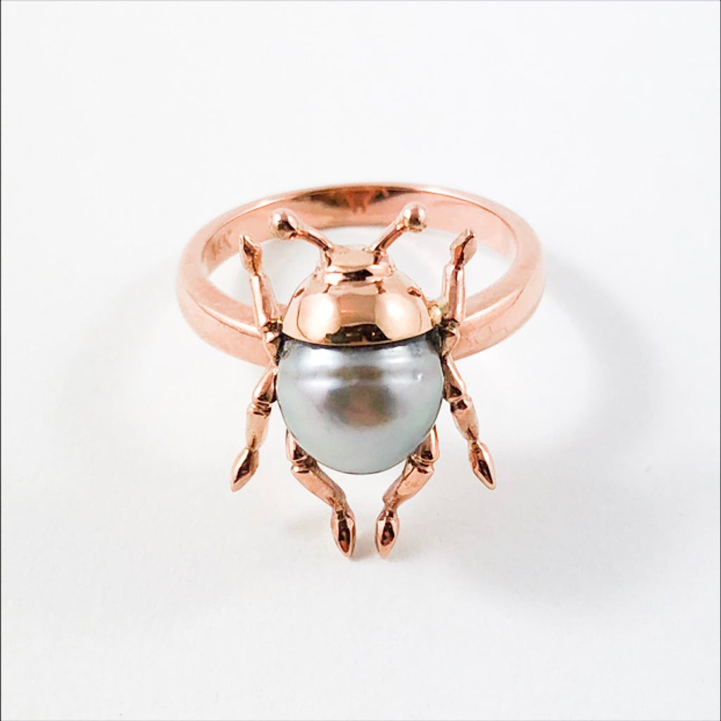Beetle bug insect Tahitian pearl 14k rose gold ring Size 7.5 US - Ready to ship or resize