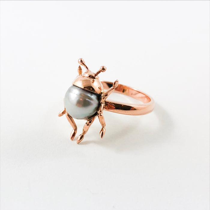 Beetle bug insect Tahitian pearl 14k rose gold ring