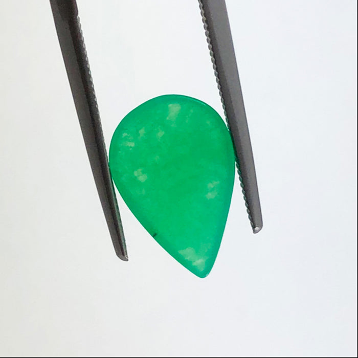 Chrysoprase 3.40 carat pear cut cabochon loose gemstone