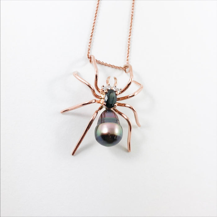 Spider Tahitian pear Parti sapphire 14k rose gold pendant necklace