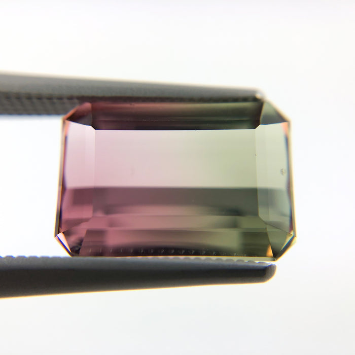 Bi color pink and green tourmaline rectangle emerald cut 3.85 carat loose gemstone