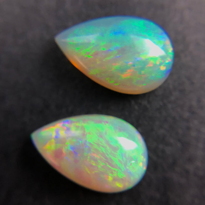 Australian white opal matched pair 2.18 carat total loose gemstone - Purchase only with custom order