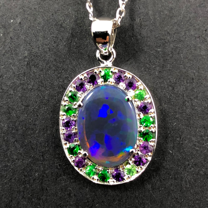 Australian opal Tsavorite garnet and amethyst halo white gold pendant necklace